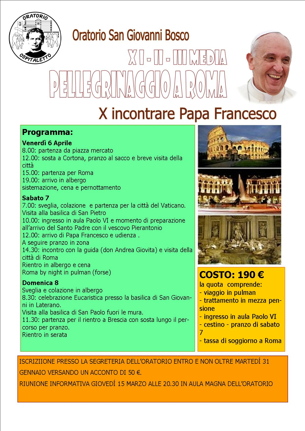 Pellegrinaggio a Roma (per le Medie)